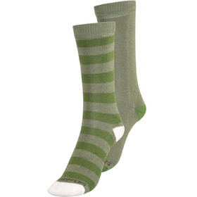Craghoppers NosiLife Travel Chaussettes Twin Pack Enfant, dark khaki/spiced lime plain & stripe